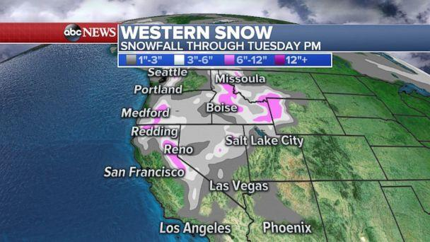 Snow is expected through Tuesday night in much of the Pacific Northwest. (ABC News)