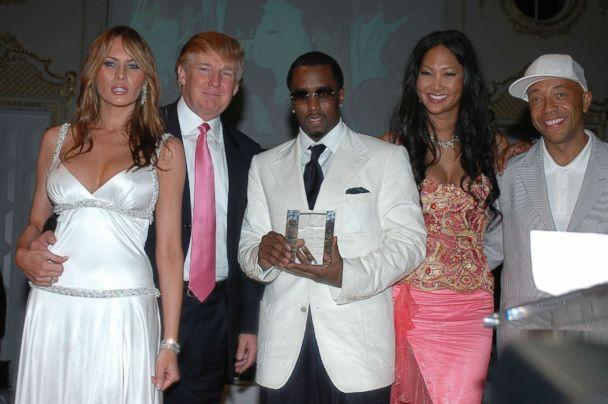 PHOTO: Donald and Melania Trump, Sean 'P Diddy' Combs, Kimora Lee Simmons and Russell Simmons at Russell Simmons 'Art For Life Palm Beach' Honoring Sean 'P Diddy' Combs at Mar-a-Lago on March 11, 2005 in Palm Beach, Florida. (Gustavo Caballero/Getty Images)